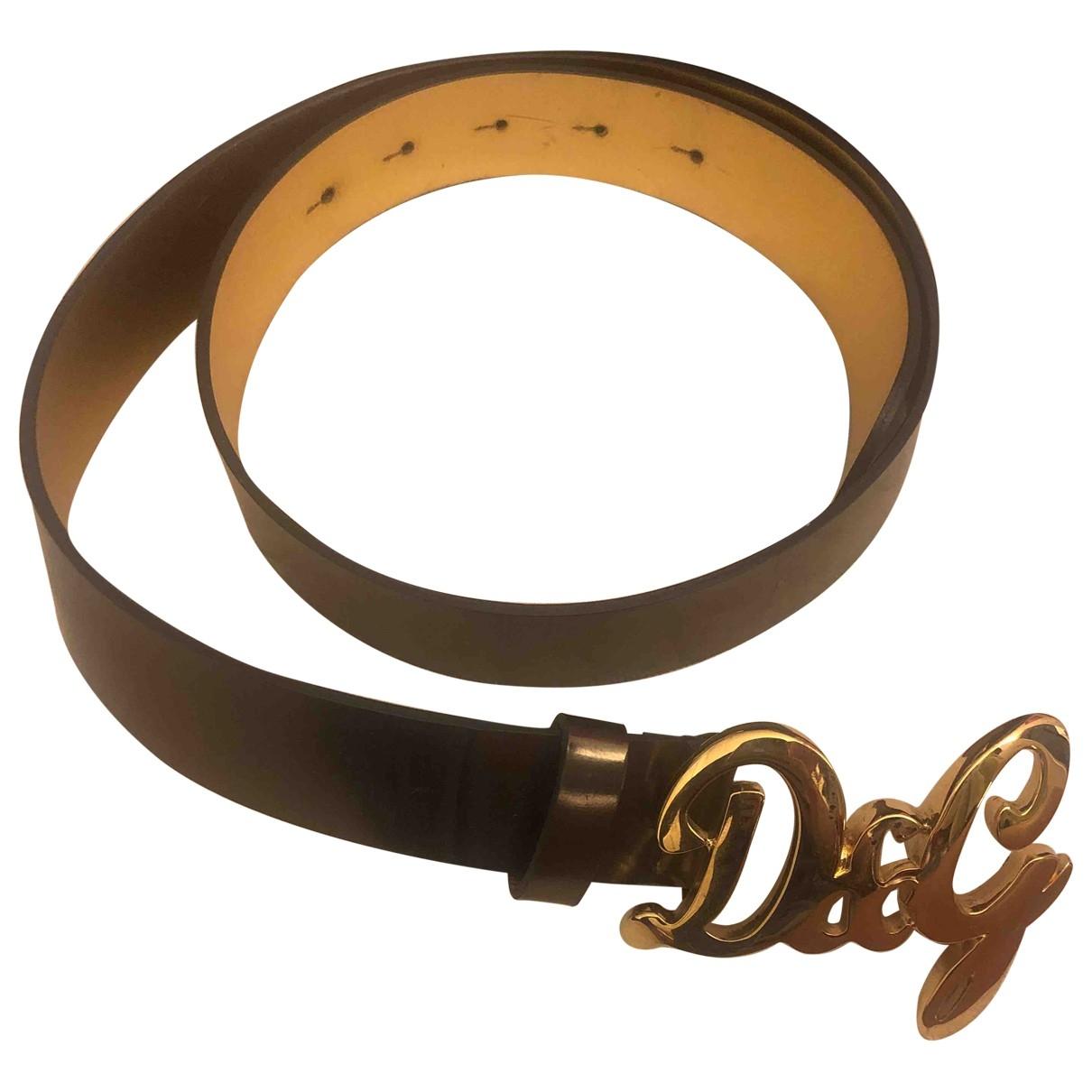 D&g \N Guertel in  Gold Lackleder