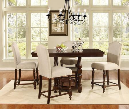Palisades Collection 5 PC Bar Table Set with Counter Height Table + 4 Counter Height Chairs in Espresso