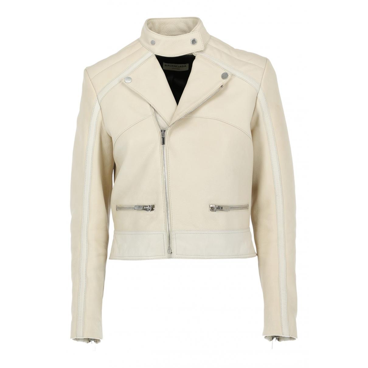 Balenciaga \N Ecru Leather jacket for Women 42 IT