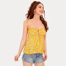 Camis Nudo Floral Amarillo Bohemio