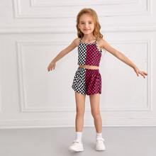 Toddler Girls Checked Colorblock Cami Top & Shorts