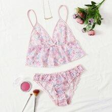 Floral Lace Ruffle Hem Lingerie Set