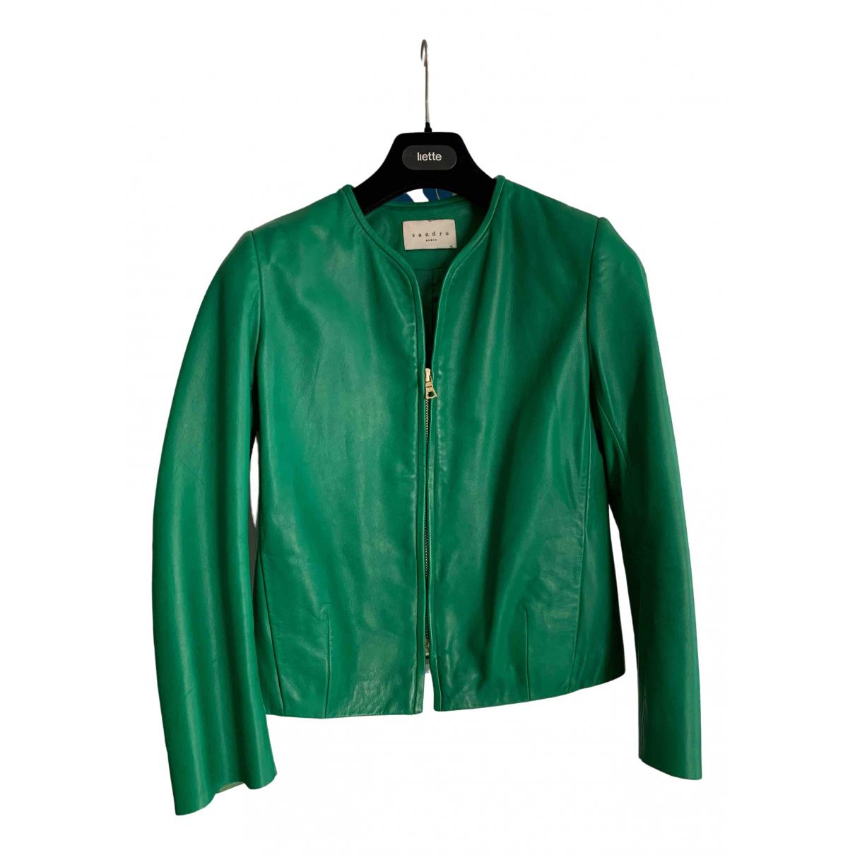 Sandro - Veste   pour femme en cuir - vert