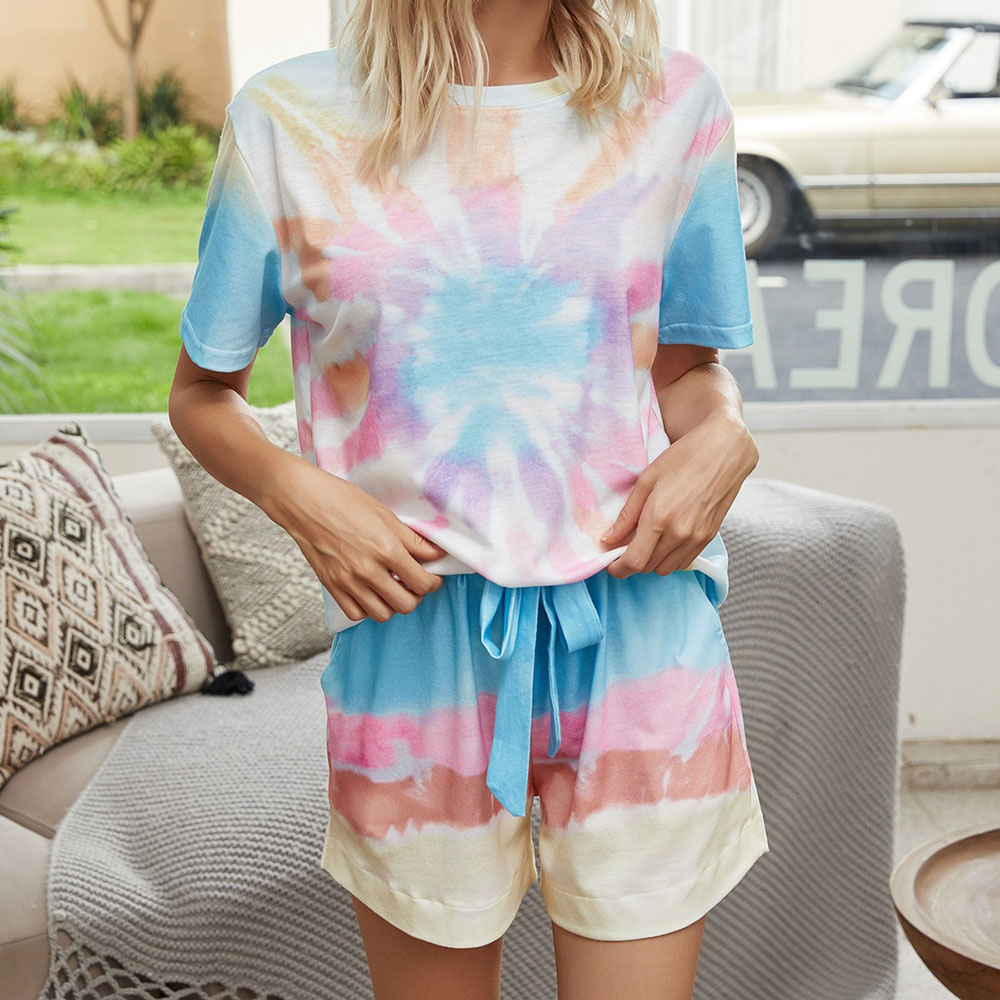 Casual Gradient Pullover T-Shirt Round Neck Short Sleeve Women's Two Piece Sets Soft Pajama Suit for Spring Summer