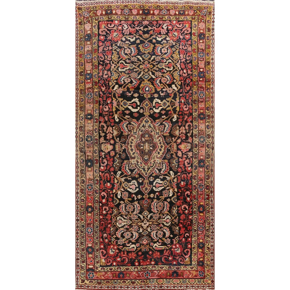 Antique Floral Bidjar Persian Area Rug Wool Hand-knotted Carpet - 52 x 95 (52 x 95 - Navy Blue)
