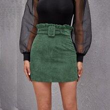Paperbag Waist Buckle Belted Corduroy Skirt