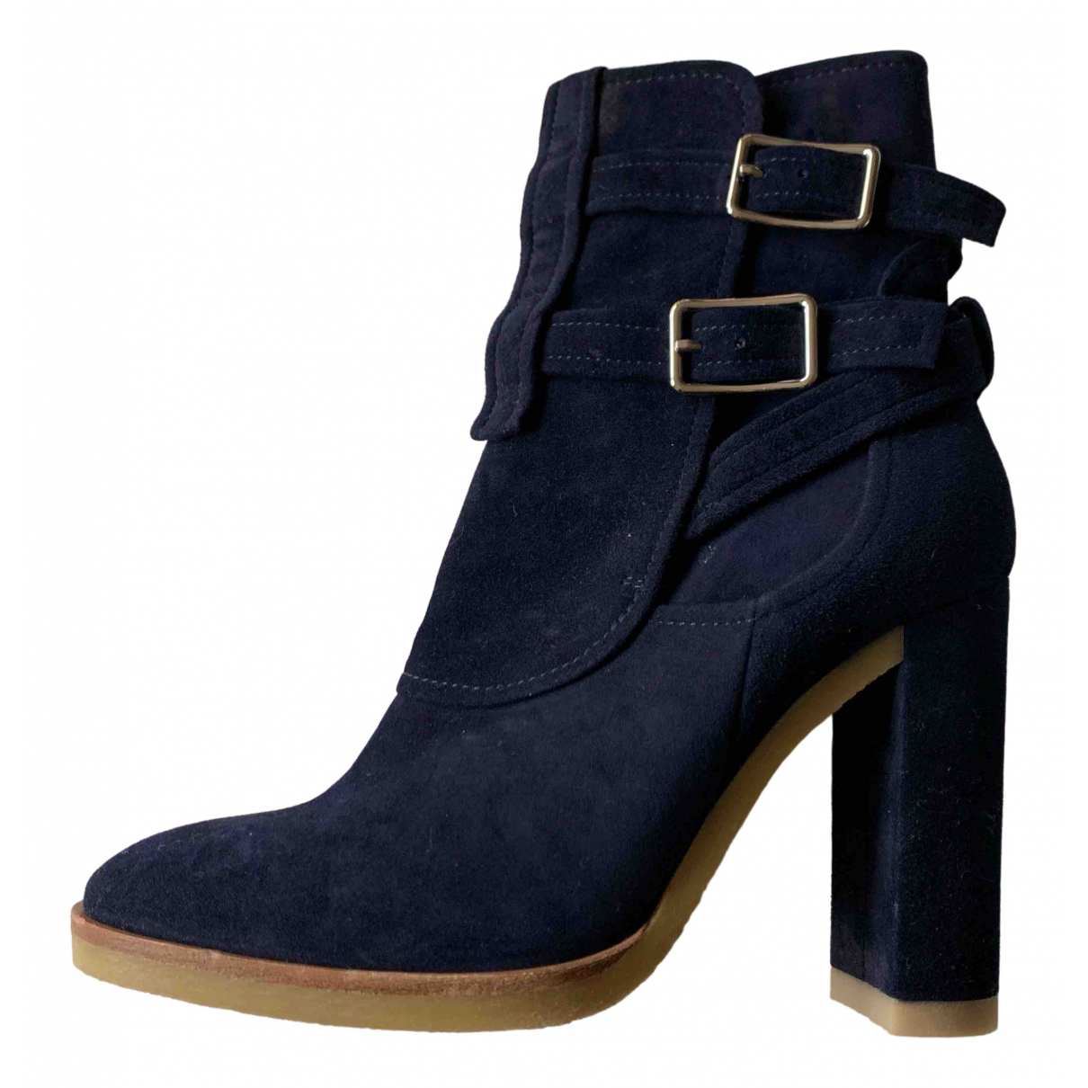 Gianvito Rossi - Boots   pour femme en suede - marine