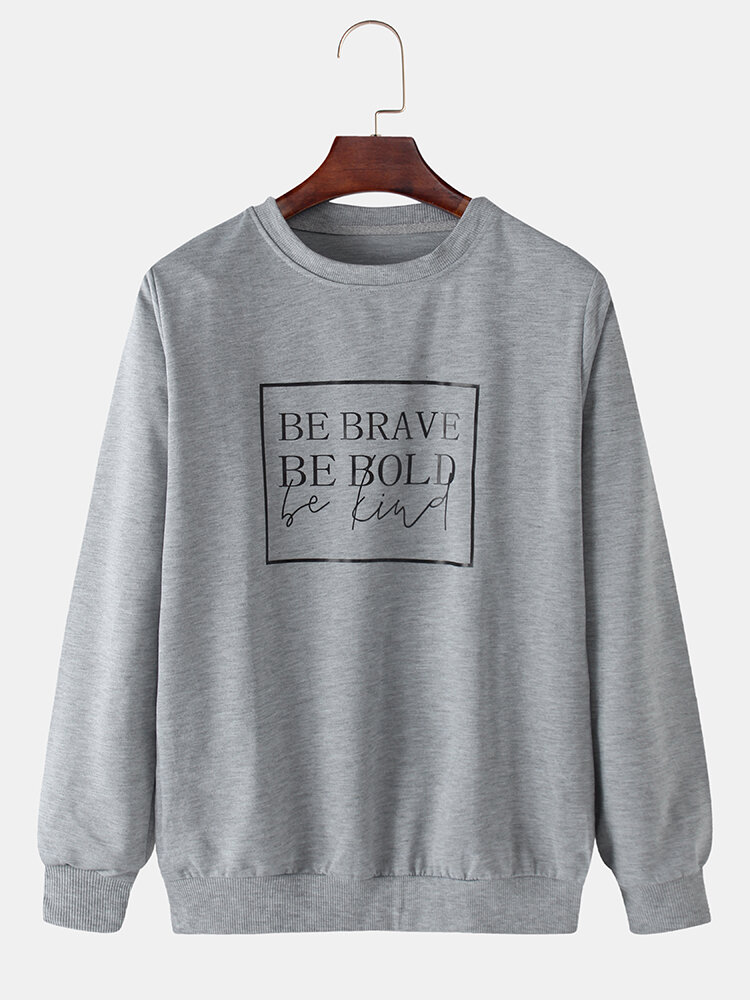 Mens Cotton Character Print Solid Color Loose O-Neck Sweatshirts