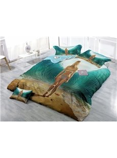 Sexy Beach Girl Wear-resistant Breathable High Quality 60s Cotton 4-Piece 3D Bedding Sets