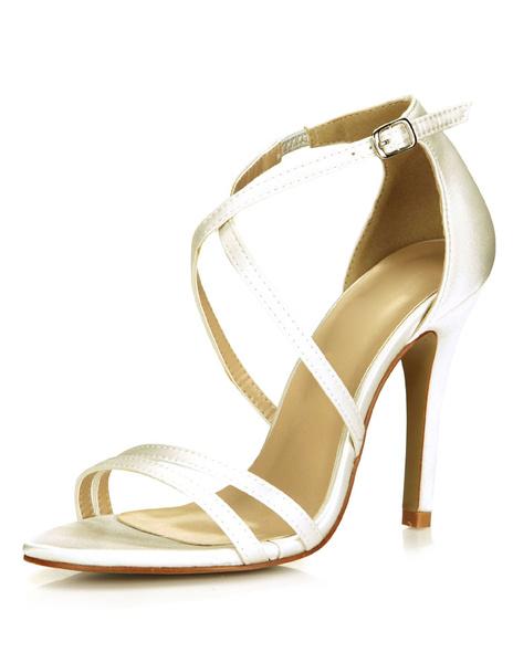 Milanoo Hebilla de Marfil Saten y sandalias de novia para mujeres