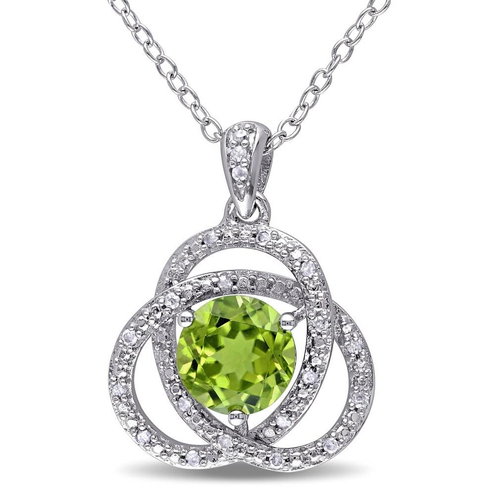 Miadora Sterling Silver Peridot and 1/10ct TDW Diamond Necklace (G-H, I2-I3) - Green (Green - Peridot - White - 18 Inch - Green)