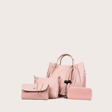 4 piezas set bolsa tote con diseño de fleco