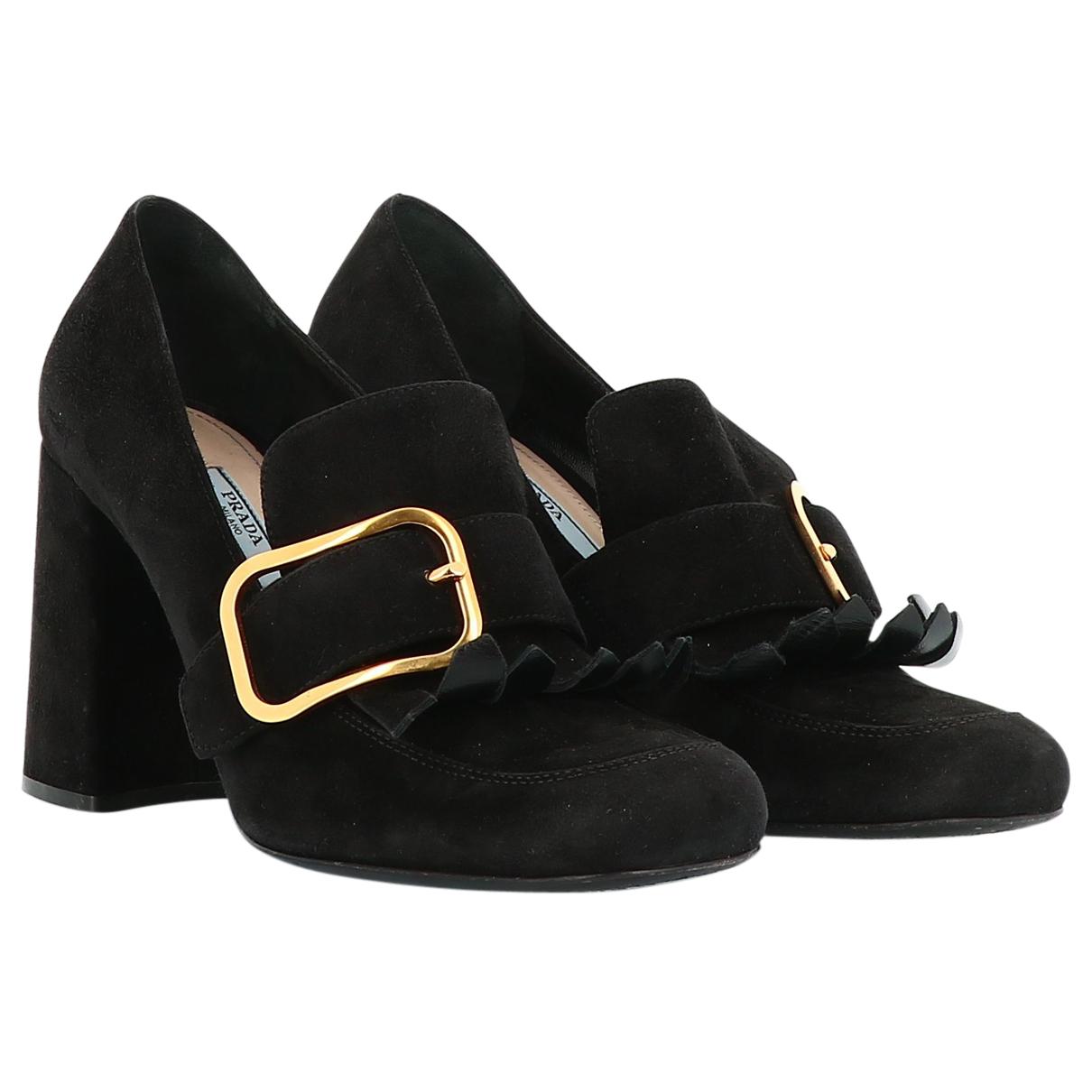 Prada N Black Suede Heels for Women 39 EU