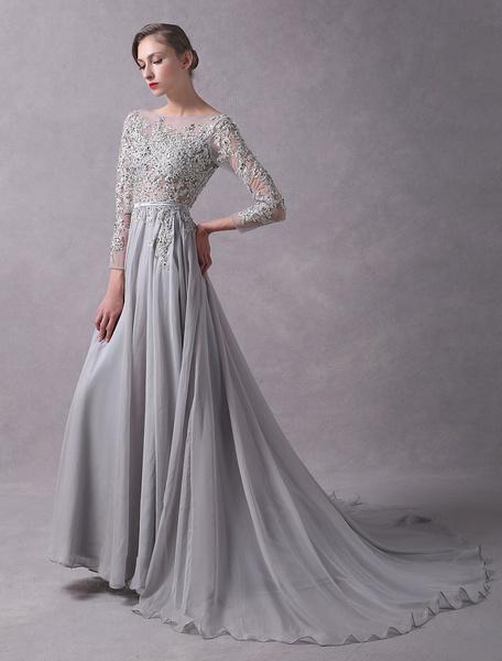 Milanoo Vestidos de fiesta largos Vestido de noche de gris claro con 3/4 manga con escote barco de encaje