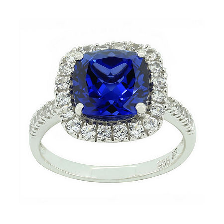 Blue & White Lab-Created Sapphire Sterling Silver Ring, 6 , No Color Family