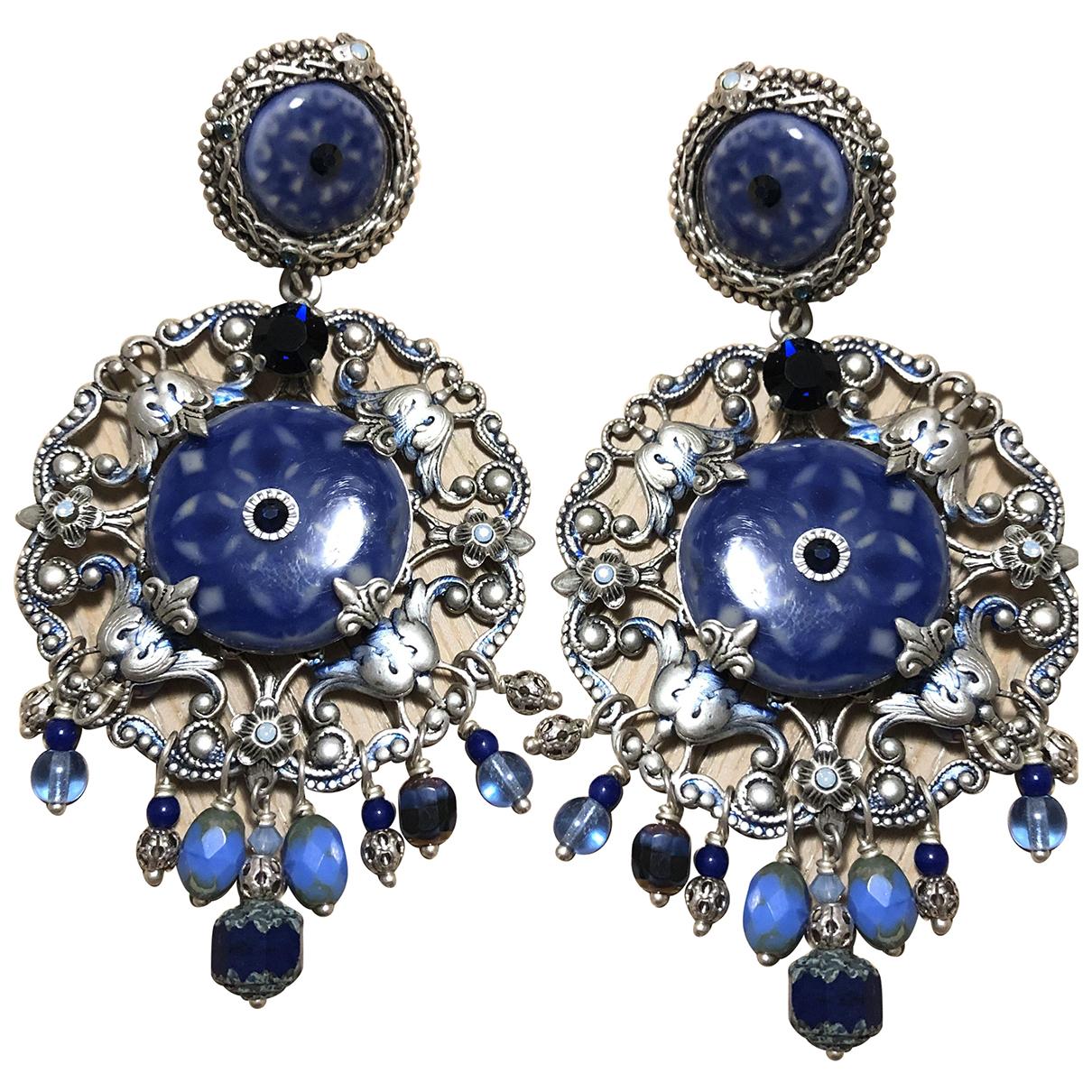 - Boucles doreilles Art Deco pour femme en argent - bleu