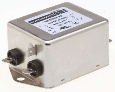 Roxburgh EMC , RES30 20A 250 V ac DC → 400Hz, Chassis Mount RFI Filter, Fast-On, Single Phase