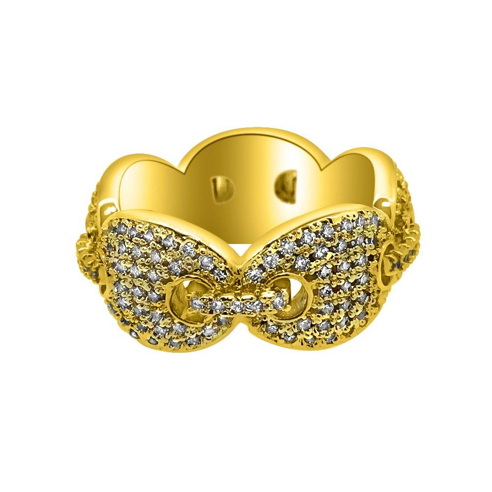 Marine Link Eternity Band Gold CZ Bling Bling Ring