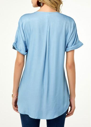 Rosewe Women Blouse Light Blue Button Front Split Neck Tunic - L