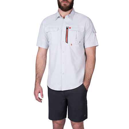 American Outdoorsman Mens Short Sleeve Cooling Moisture Wicking Button-Down Shirt, Xx-large , Gray