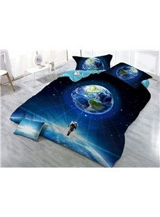 Earth and Astronaut Galaxy Printed 3D 4-Piece Bedding Sets/Duvet Covers