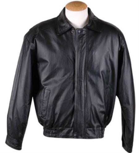 Mens Removable Liner Basic Leather Bomber Jacket Black