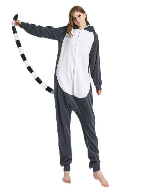 Milanoo Kigurumi Onesie Pajamas Lemur Cartoon Flannel for Adult Winter Sleepwear Animal Costume Halloween