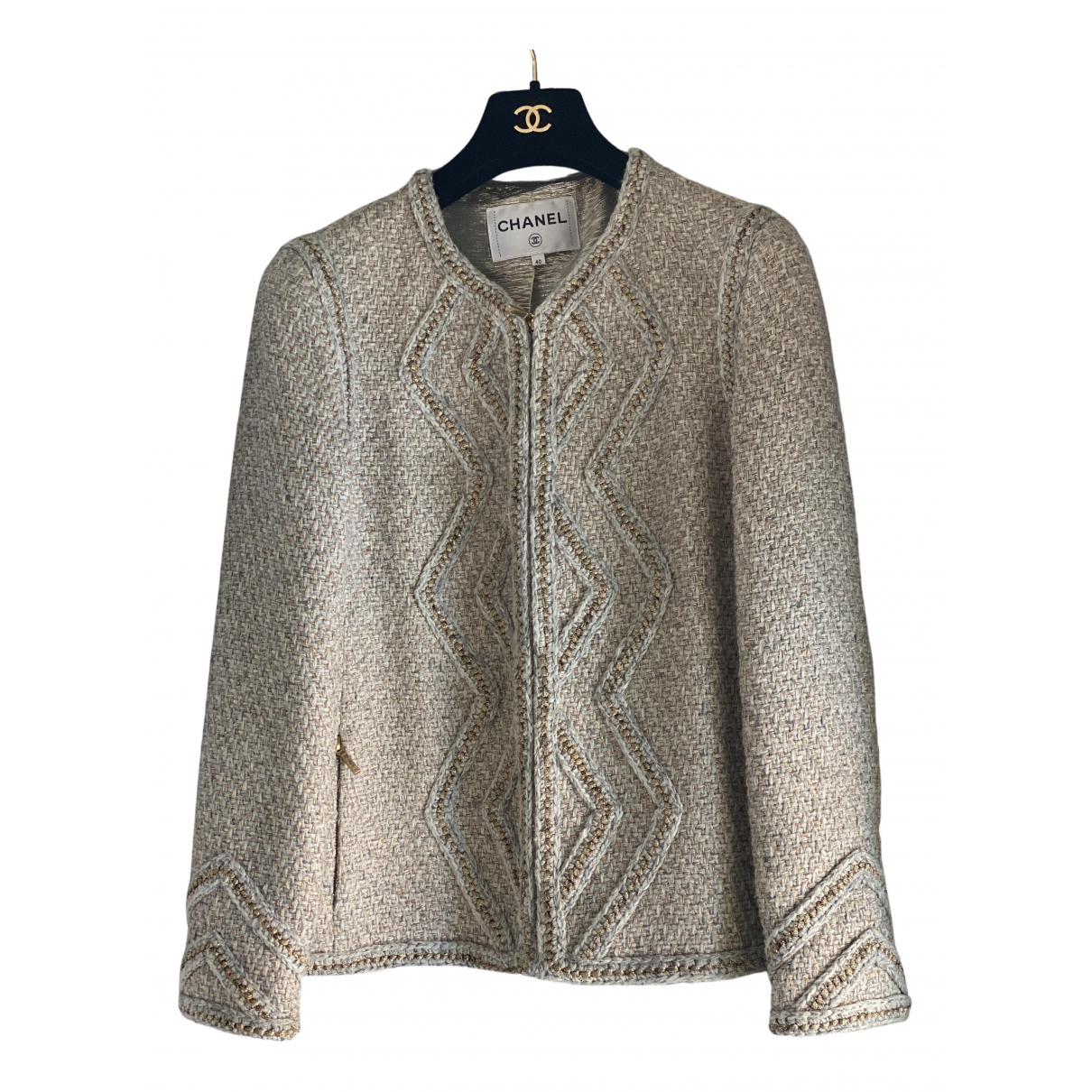 Chanel \N Jacke in  Beige Tweed