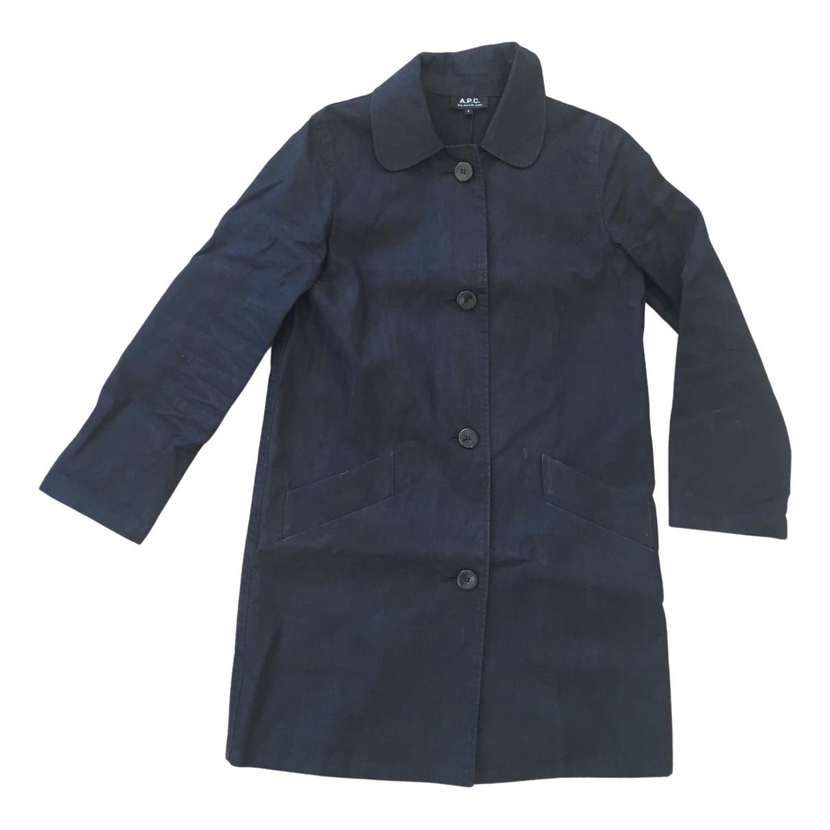 Apc - Manteau   pour femme en lin - noir