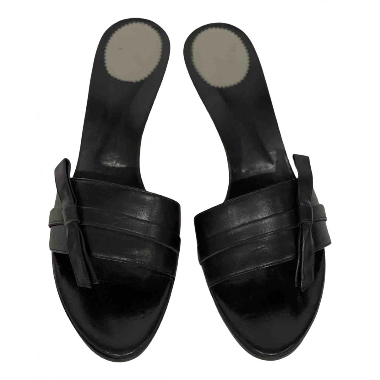 Max Mara - Sandales   pour femme en cuir - noir