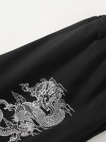 Solid Tube Top & Chinese Dragon Graphic Sweatpants