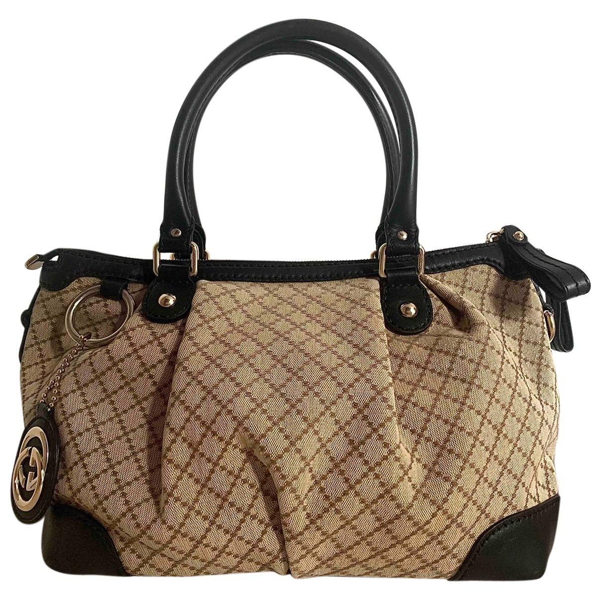 Gucci Sukey Handtasche in  Beige Baumwolle