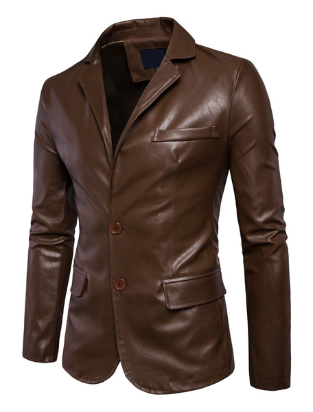 Milanoo Brown Leather Jackets Men's Turndown Collar Long Sleeve Regular Fit Short Jacket