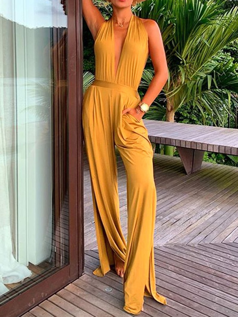 Ericdress Sexy Plain Split Dressy Slim Jumpsuit
