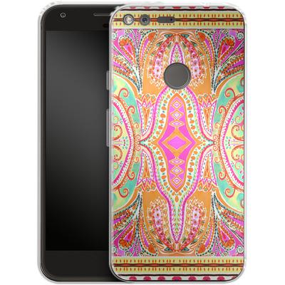 Google Pixel Silikon Handyhuelle - Paisley Pink von Amy Sia