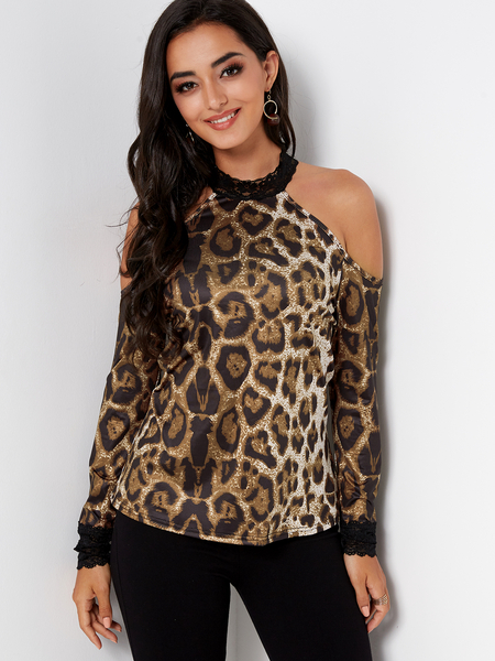 Yoins Leopard Lace Trim Halter Cold Shoulder Long Sleeves Blouses
