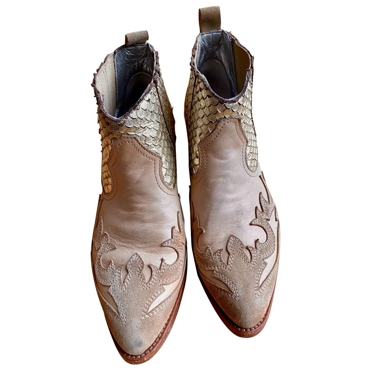 Golden Goose \N Beige Water snake Ankle boots for Women 37 EU