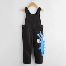 Toddler Boys Cartoon Graphic 3D Patched Overall