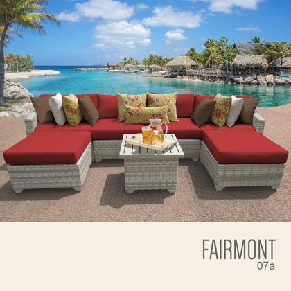 FAIRMONT-07a-TERRACOTTA Fairmont 7 Piece Outdoor Wicker Patio Furniture Set 07a with 2 Covers: Beige and