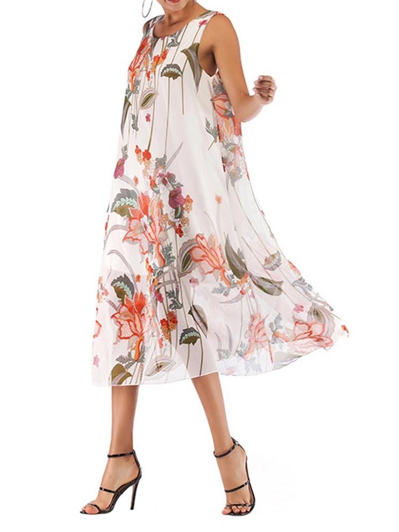 Ericdress Chiffon Print Round Neck Mid-Calf Sleeveless Sweet Dress