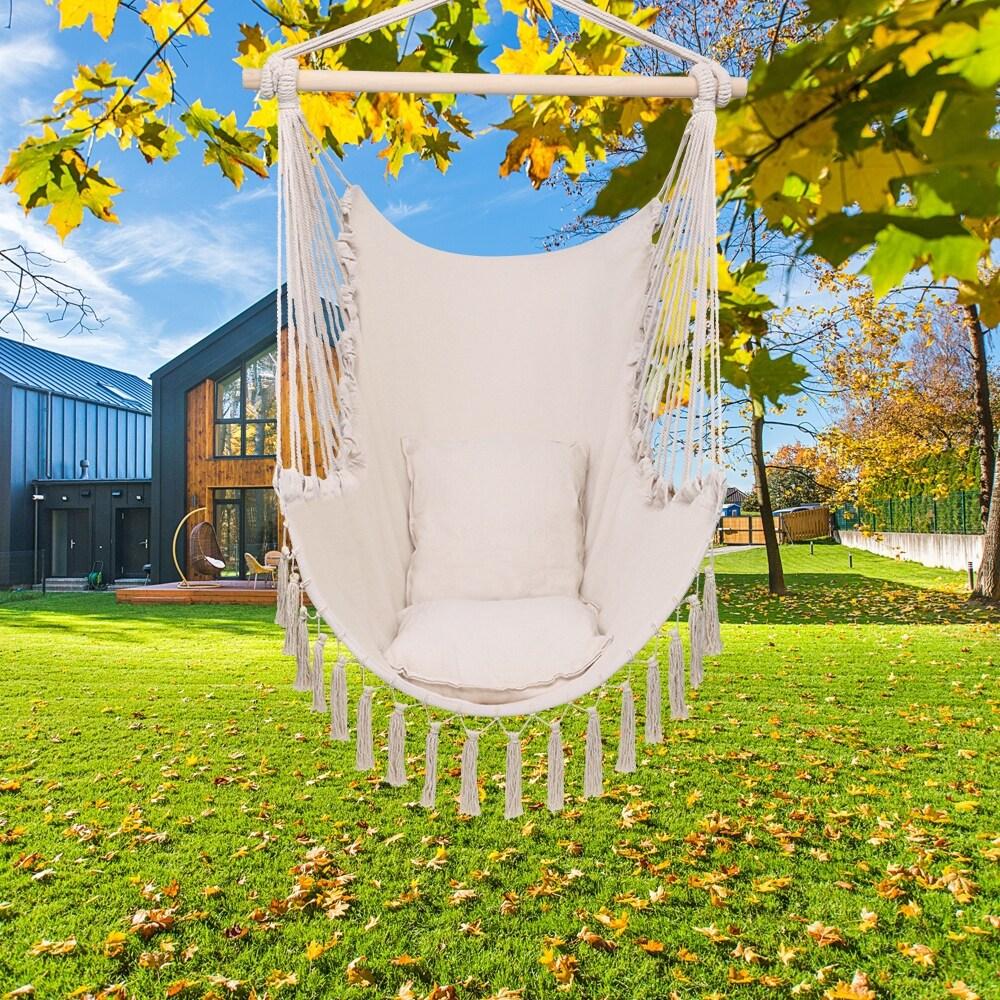 Pillow Tassel Hanging Chair Beige (Beige)