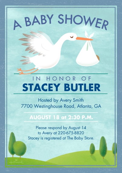Baby Shower Invitations 5x7 Cards, Premium Cardstock 120lb, Card & Stationery -Sweet Stork
