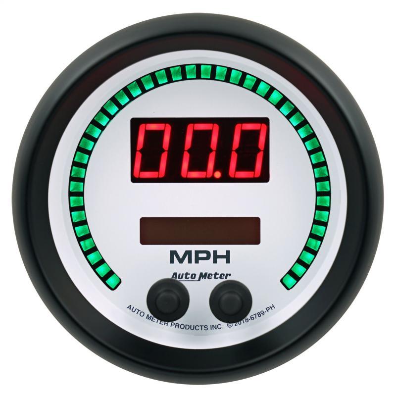 AutoMeter GAUGE; SPEEDO; 3 3/8in.; 260 MPH/260 KM/H; ELEC PROGRAM; PHANTOM ELITE DIGITAL