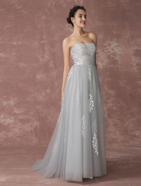 Milanoo Silver Wedding Dress Beach Wedding Dress Strapless Tulle Bridal Gown Grey Backless Embroideries Beaded Court Train Lace Bridal Dress