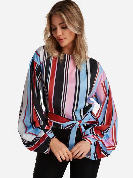 Yoins Stripe Self-tie Design Round Neck Lantern Sleeves Blouses