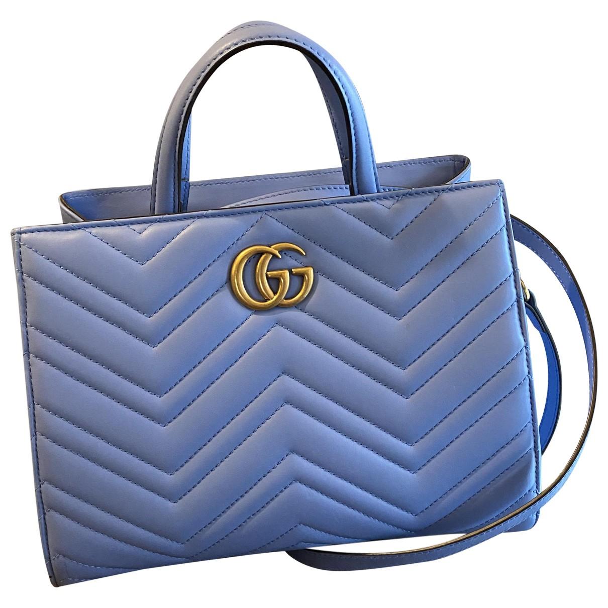 Gucci - Sac a main Marmont pour femme en cuir - bleu