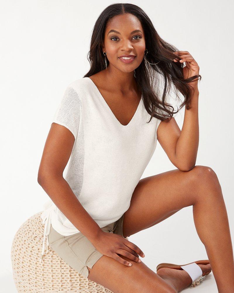 Alana Linen Side Tie V-Neck Sweater