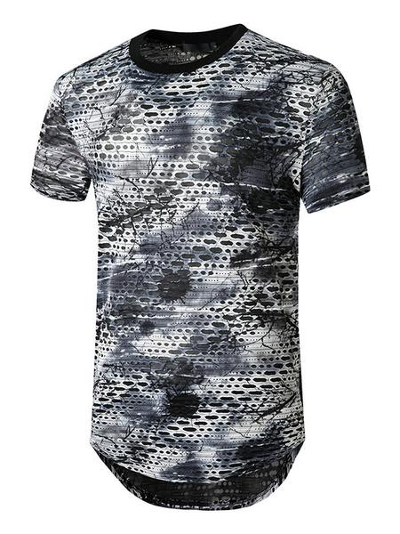 Milanoo Camisetas Casual cuello joya manga corta camiseta