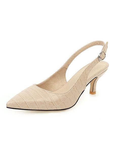 Milanoo Kitten Heel Pumps Yellow Pointed Toe Slingbacks Stiletto Heel Pumps For Women