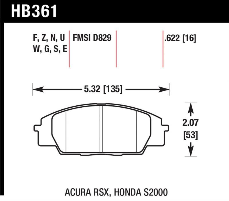 Hawk Performance HB361U.622 Disc Brake Pad Front